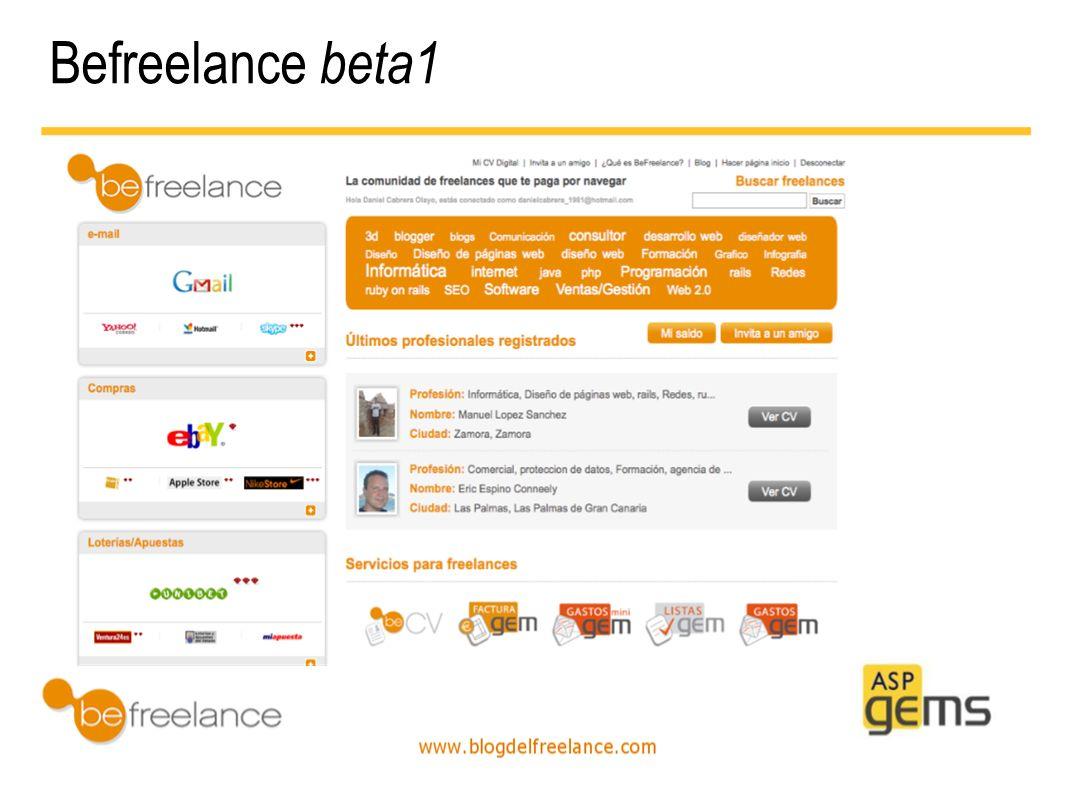 Befreelance Evolución a beta2 Hazlo realidad Interactúa Menos es más Befreelance beta1 Befreelance beta2