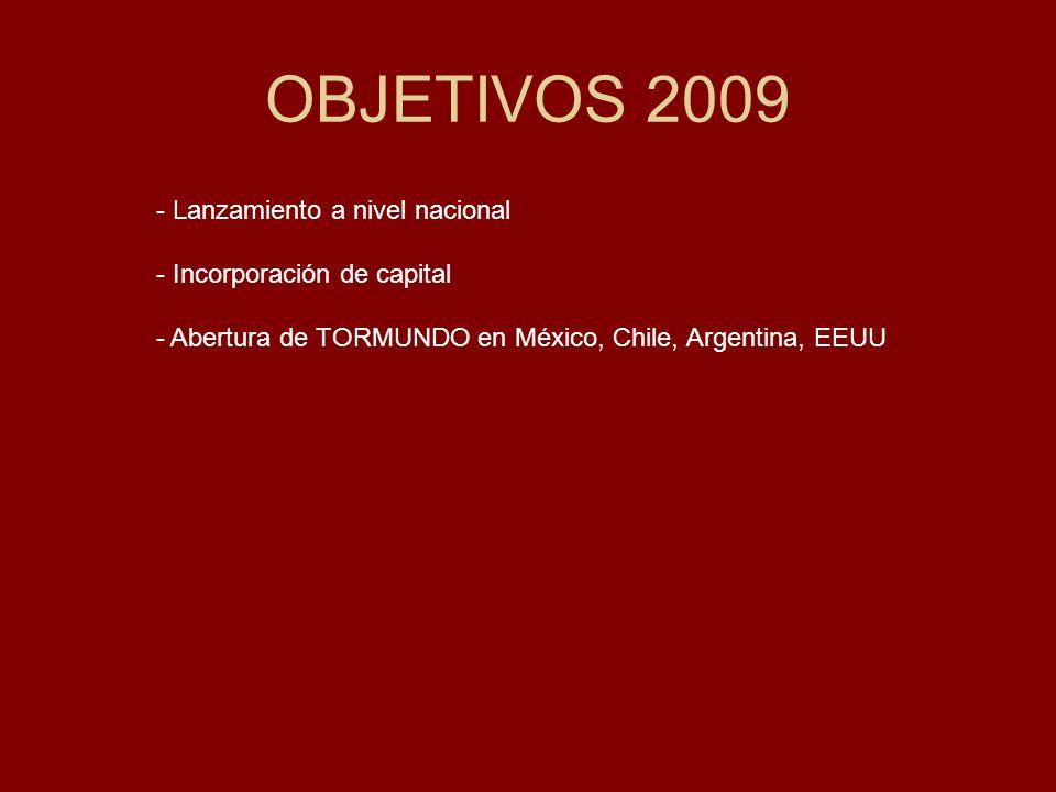 OBJETIVOS 2009 - Lanzamiento a nivel nacional - Incorporación de capital - Abertura de TORMUNDO en México, Chile, Argentina, EEUU