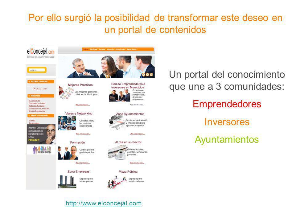 Por ello surgió la posibilidad de transformar este deseo en un portal de contenidos Un portal del conocimiento que une a 3 comunidades: Emprendedores Inversores Ayuntamientos http://www.elconcejal.com