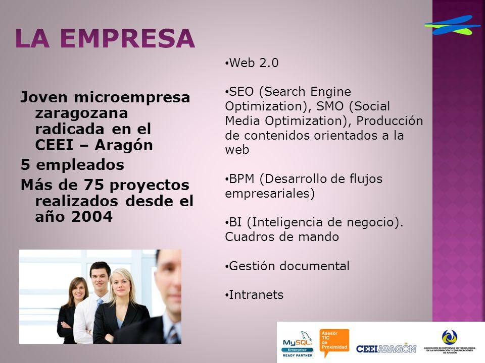 Joven microempresa zaragozana radicada en el CEEI – Aragón 5 empleados Más de 75 proyectos realizados desde el año 2004 Web 2.0 SEO (Search Engine Optimization), SMO (Social Media Optimization), Producción de contenidos orientados a la web BPM (Desarrollo de flujos empresariales) BI (Inteligencia de negocio).