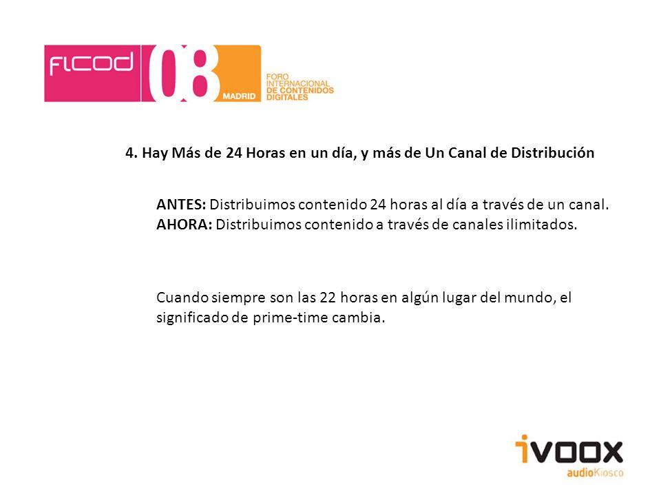 4. Hay Más de 24 Horas en un día, y más de Un Canal de Distribución ANTES: Distribuimos contenido 24 horas al día a través de un canal. AHORA: Distrib