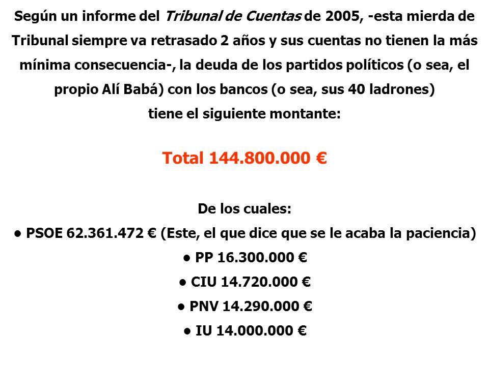 Según un informe del Tribunal de Cuentas de 2005, -esta mierda de Tribunal siempre va retrasado 2 años y sus cuentas no tienen la más mínima consecuen