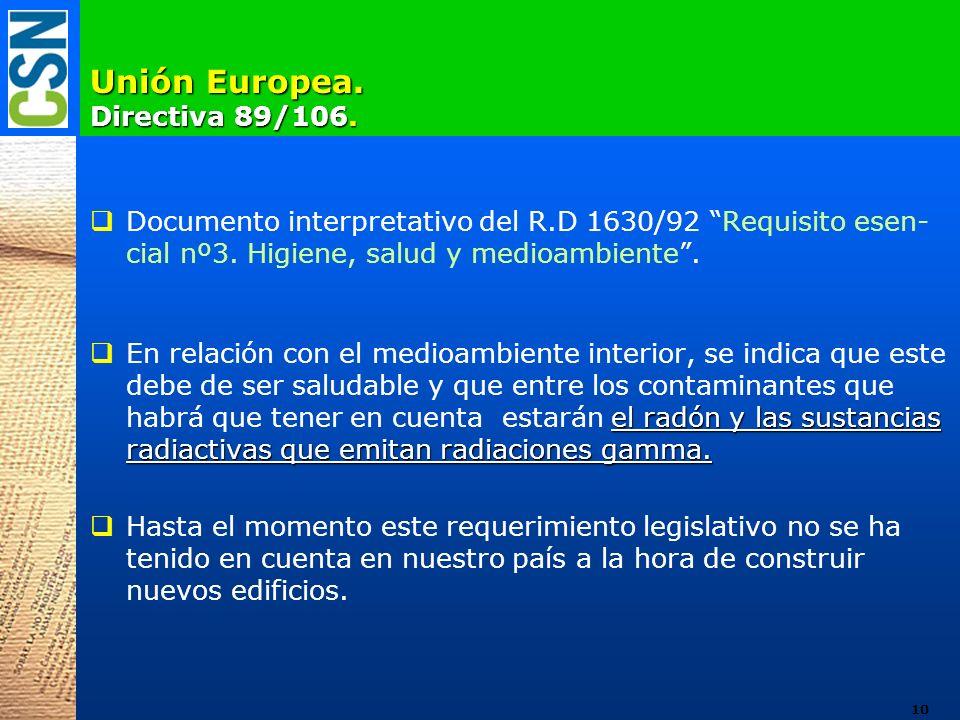 Unión Europea. Directiva 89/106. Documento interpretativo del R.D 1630/92 Requisito esen- cial nº3. Higiene, salud y medioambiente. el radón y las sus