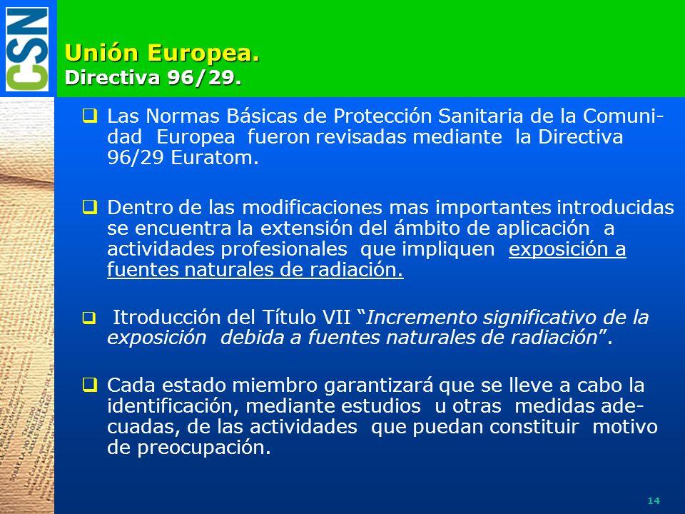 Unión Europea. Directiva 96/29. Las Normas Básicas de Protección Sanitaria de la Comuni- dad Europea fueron revisadas mediante la Directiva 96/29 Eura
