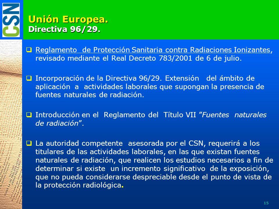 U nión Europea. Directiva 96/29. Reglamento de Protección Sanitaria contra Radiaciones Ionizantes, revisado mediante el Real Decreto 783/2001 de 6 de