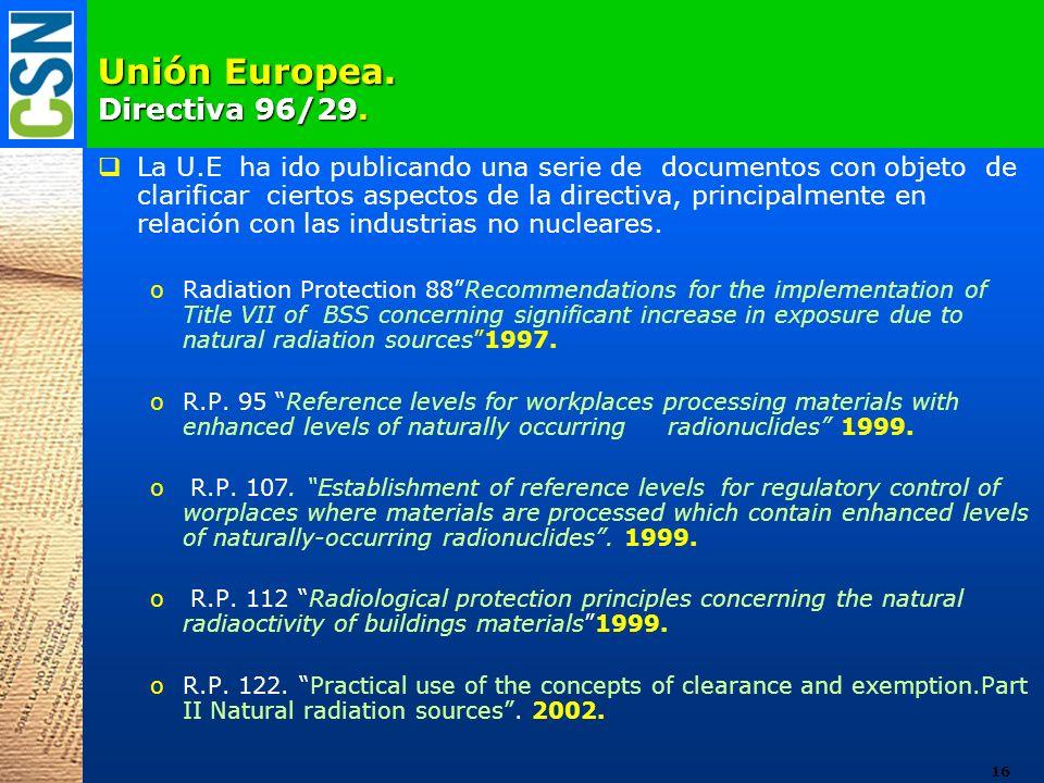 Unión Europea. Directiva 96/29. La U.E ha ido publicando una serie de documentos con objeto de clarificar ciertos aspectos de la directiva, principalm