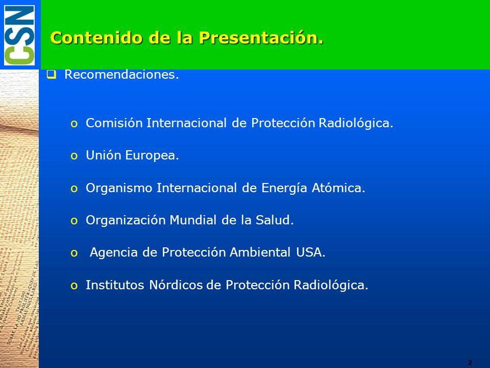 Contenido de la Presentación. Recomendaciones. oComisión Internacional de Protección Radiológica. oUnión Europea. oOrganismo Internacional de Energía