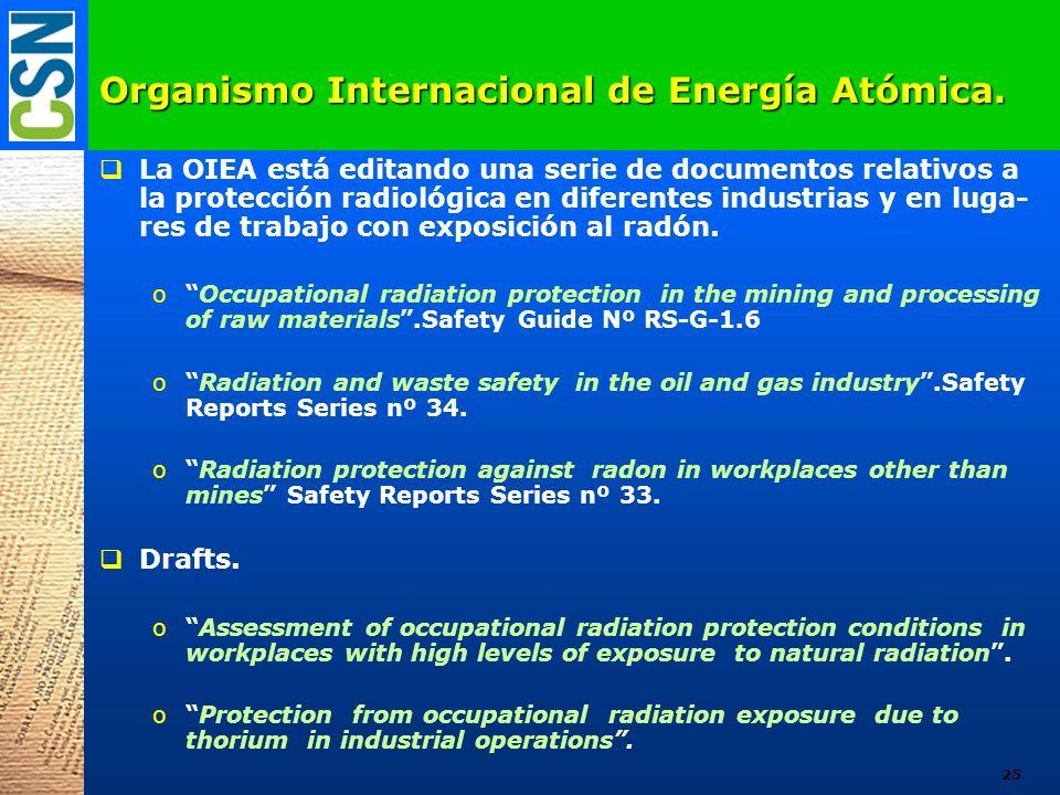 Organismo Internacional de Energía Atómica. La OIEA está editando una serie de documentos relativos a la protección radiológica en diferentes industri