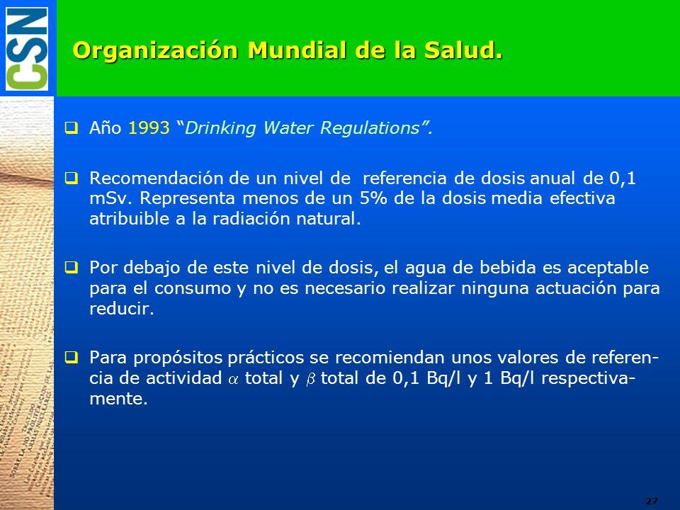 Organización Mundial de la Salud. Año 1993 Drinking Water Regulations. Recomendación de un nivel de referencia de dosis anual de 0,1 mSv. Representa m