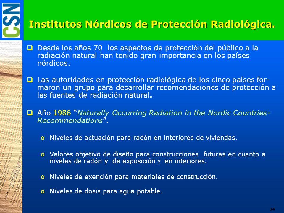 Institutos Nórdicos de Protección Radiológica. Desde los años 70 los aspectos de protección del público a la radiación natural han tenido gran importa