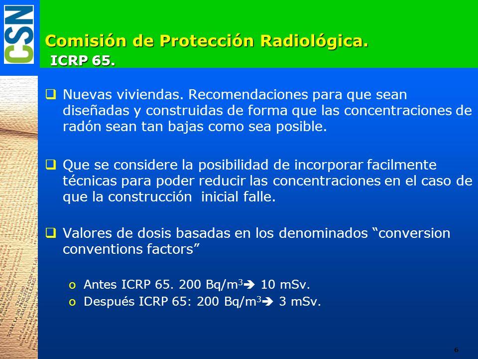 Comisión de Protección Radiológica. ICRP 65. Nuevas viviendas. Recomendaciones para que sean diseñadas y construidas de forma que las concentraciones