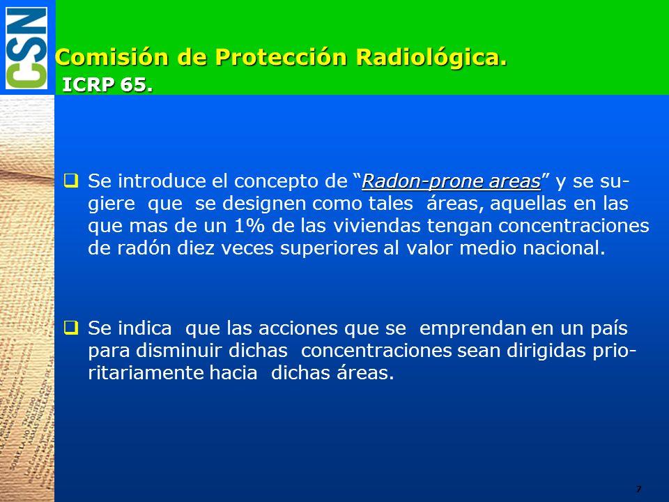Comisión de Protección Radiológica. ICRP 65. Radon-prone areas Se introduce el concepto de Radon-prone areas y se su- giere que se designen como tales