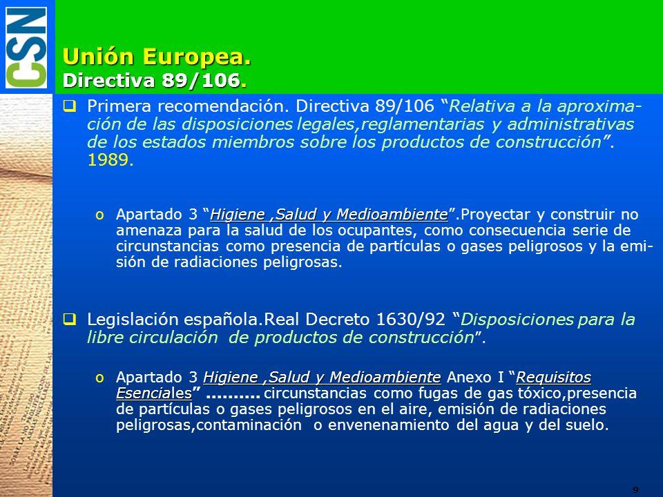 Unión Europea. Directiva 89/106. Primera recomendación. Directiva 89/106 Relativa a la aproxima- ción de las disposiciones legales,reglamentarias y ad