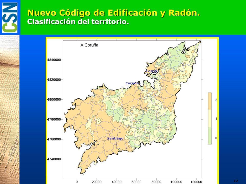 Nuevo Código de Edificación y Radón. Clasificación del territorio. Coruña Ferrol Santiago 12
