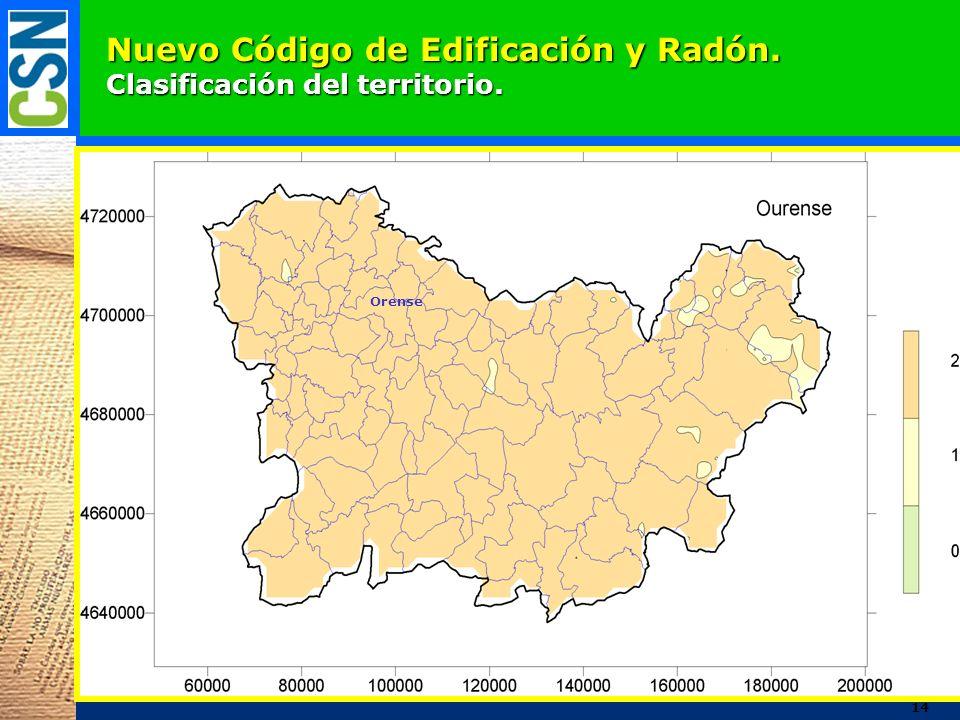 Nuevo Código de Edificación y Radón. Clasificación del territorio. Orense 14