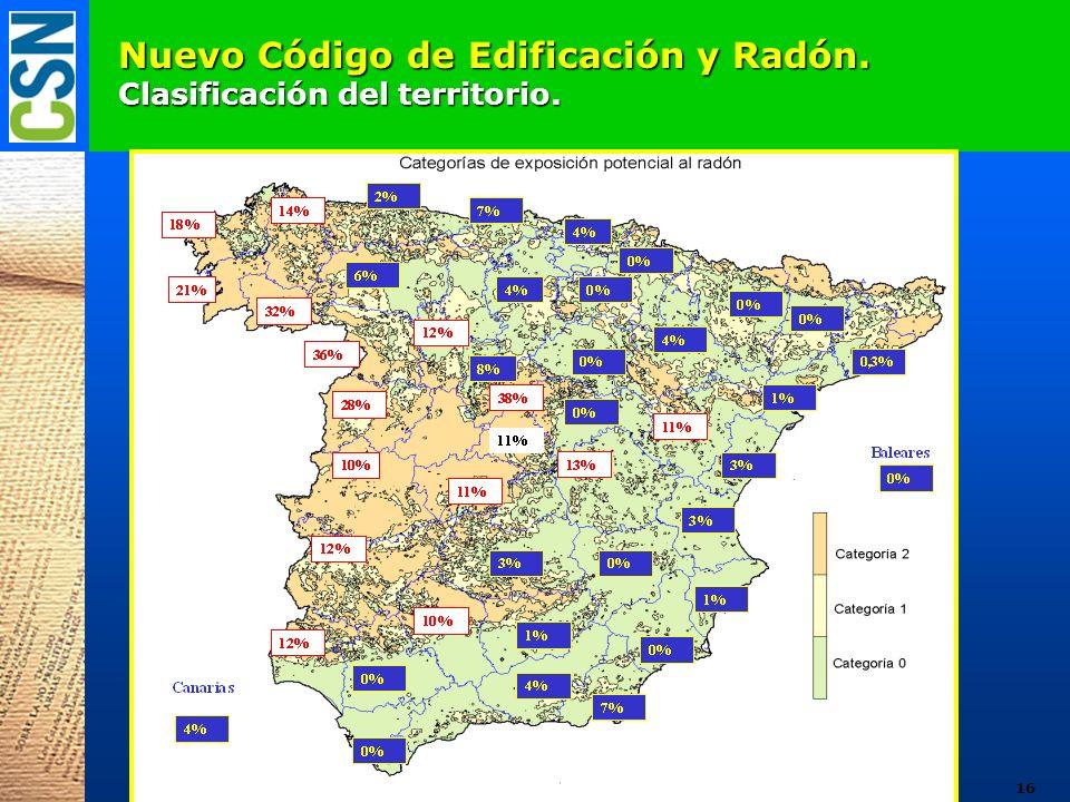 Nuevo Código de Edificación y Radón. Clasificación del territorio. 16