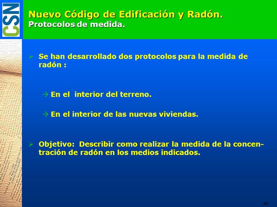 Nuevo Código de Edificación y Radón. Protocolos de medida. Se han desarrollado dos protocolos para la medida de radón : En el interior del terreno. En