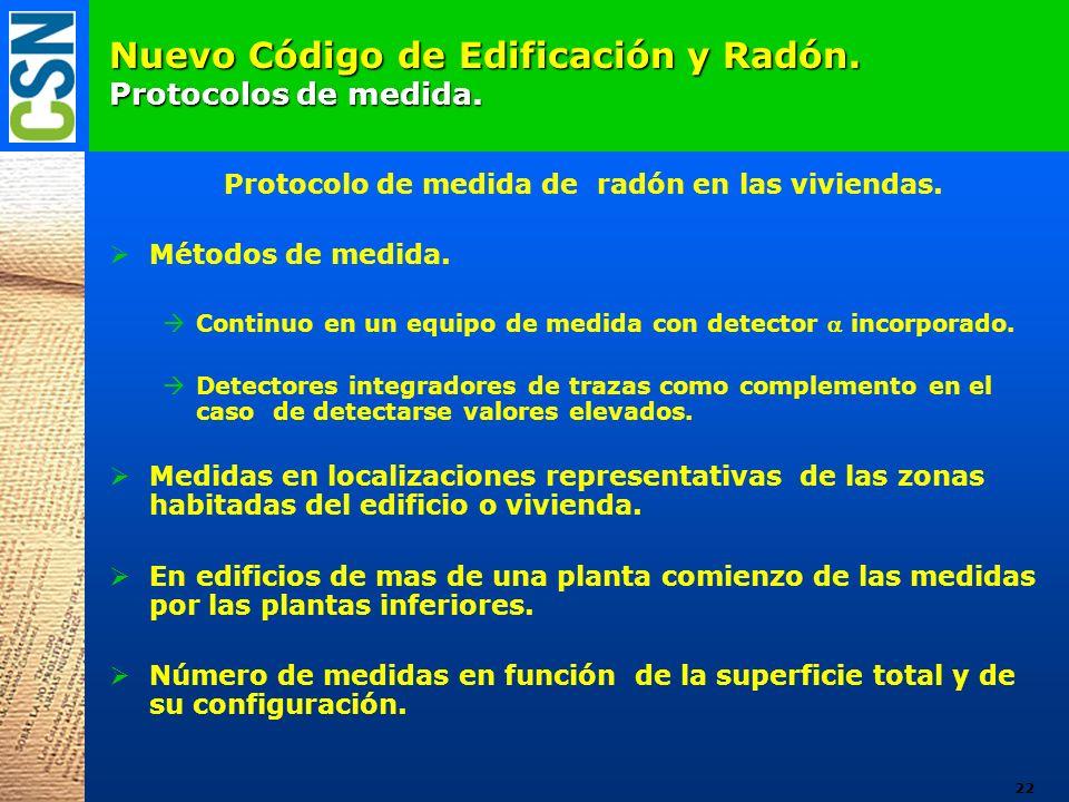 Nuevo Código de Edificación y Radón. Protocolos de medida. Protocolo de medida de radón en las viviendas. Métodos de medida. Continuo en un equipo de