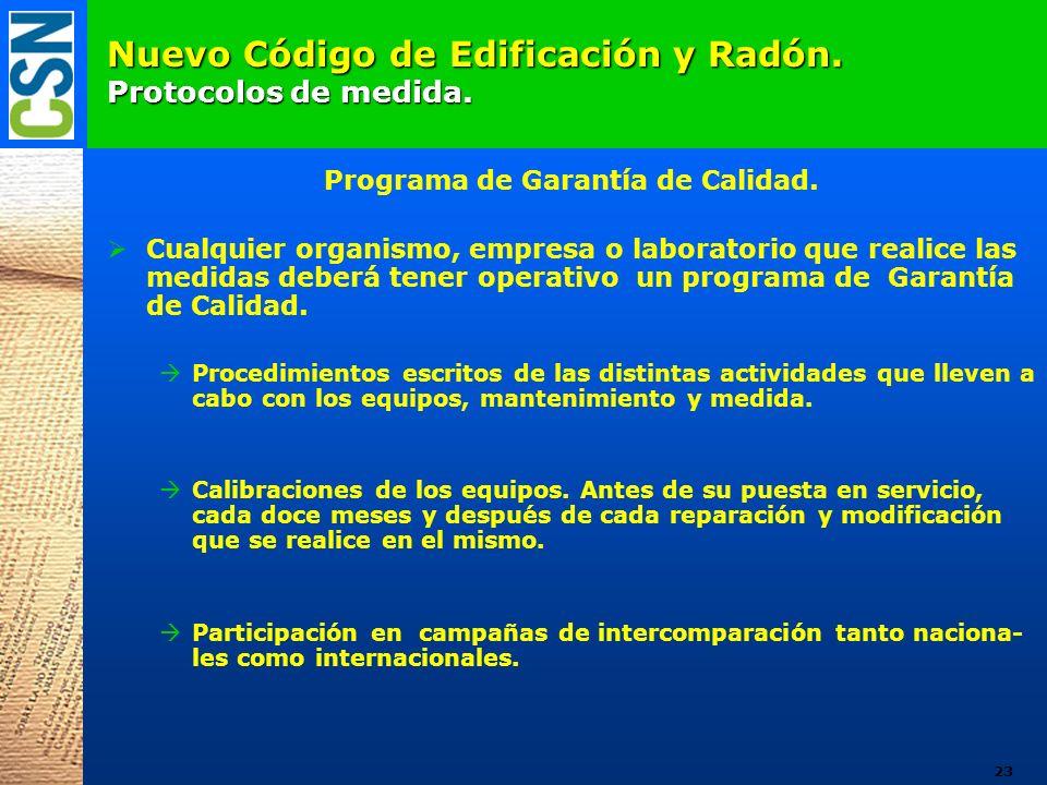 Nuevo Código de Edificación y Radón. Protocolos de medida. Programa de Garantía de Calidad. Cualquier organismo, empresa o laboratorio que realice las