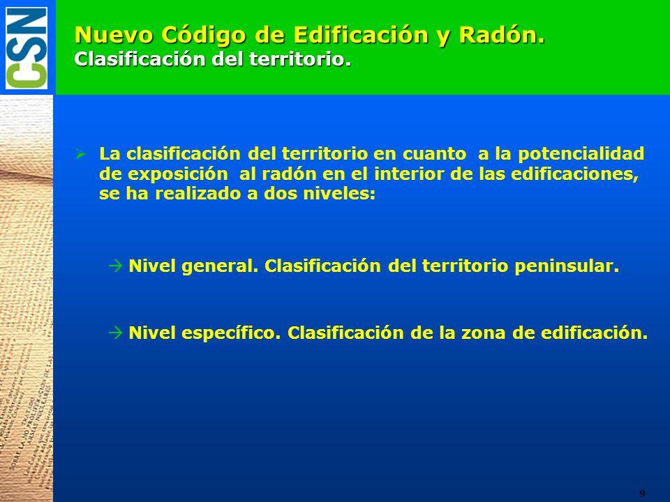 Nuevo Código de Edificación y Radón. Clasificación del territorio. La clasificación del territorio en cuanto a la potencialidad de exposición al radón