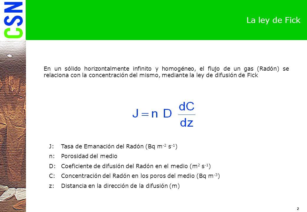 3 La ecuación de la difusión en un fluido La concentración de Radón dentro de un estrato contaminado con Radio-226 se determina a partir de la ecuación de difusión de un medio fluido Utilizando la ley de la difusión de Fick :Constante de desintegración del Radón-222 (s -1 ) Q:Flujo de actividad del Rn-222 en los poros del suelo (Bq m -3 s -1 )