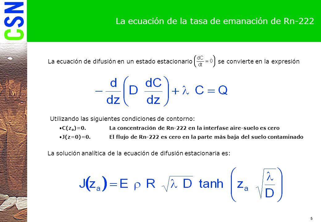 6 La tasa de emanación en un suelo infinito Función: f(x)=tanh(x) Si se supone que el espesor del suelo es suficientemente grande, la tasa de emanación se puede expresar de la siguiente forma Esta ecuación relaciona la máxima cantidad de Rn-222 que puede salir al exterior de un suelo con profundidad infinita contaminado con Ra-226.