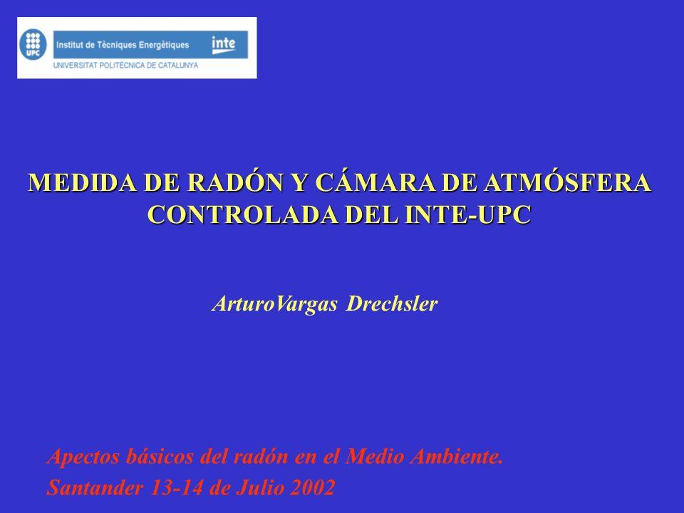 MEDIDA DE RADÓN Y CÁMARA DE ATMÓSFERA CONTROLADA DEL INTE-UPC ArturoVargas Drechsler Apectos básicos del radón en el Medio Ambiente.