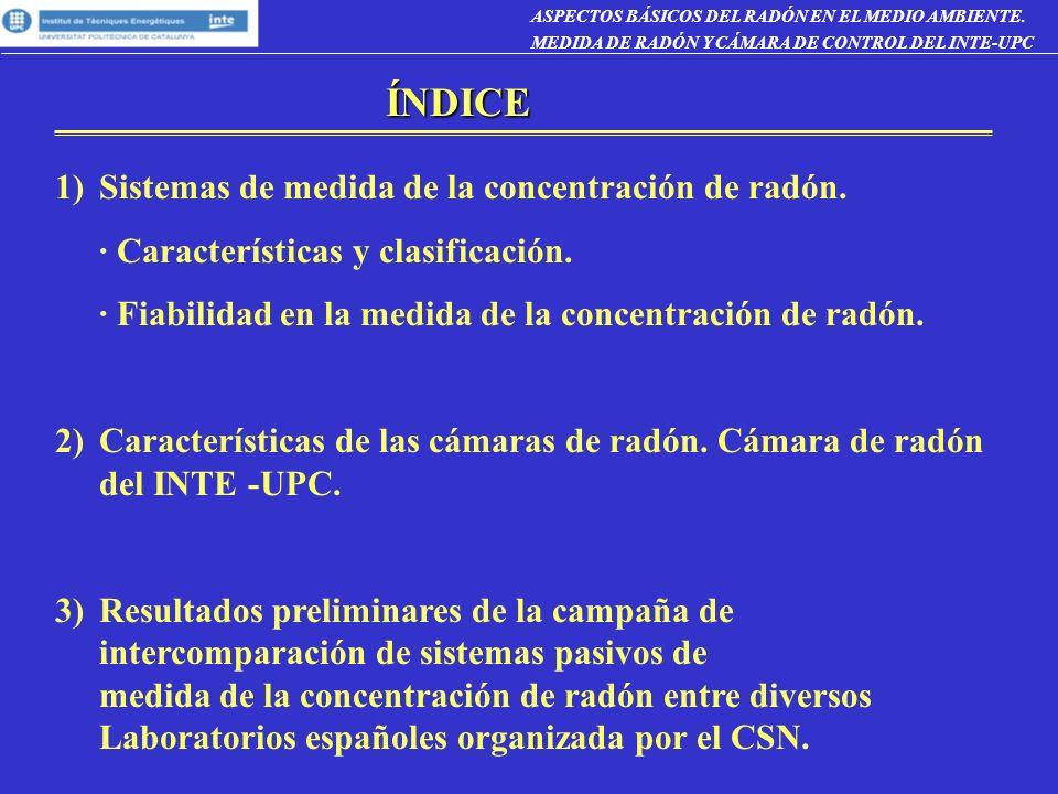 CRITERIOS DE SELECCIÓN DE LOS SISTEMAS DE MEDIDA DEL RADÓN · Concetración de radón / descendientes.