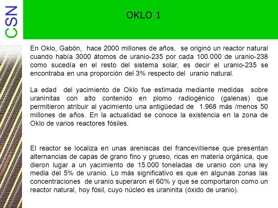 CSN OKLO 2 Se originó el reactor natural al cumplirse cinco condiciones importantes: Existir en el momento de su formación una relación uranio-235 / uranio-238 alta (3/100).