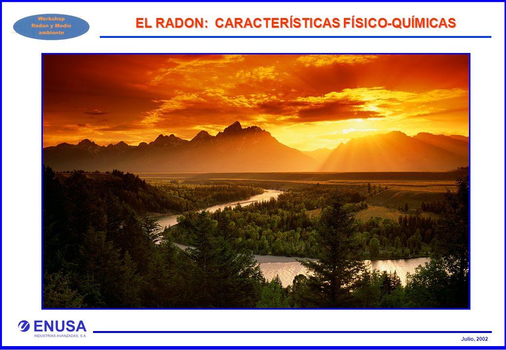 Julio, 2002 EL RADON: CARACTERÍSTICAS FÍSICO-QUÍMICAS