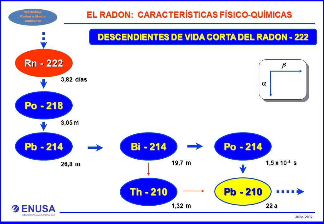 Julio, 2002 DESCENDIENTES DE VIDA CORTA DEL RADON - 222 EL RADON: CARACTERÍSTICAS FÍSICO-QUÍMICAS Rn - 222 Po - 218 Pb - 214 Bi - 214 Po - 214 Th - 21