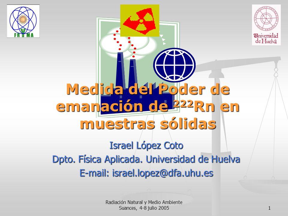 Radiación Natural y Medio Ambiente Suances, 4-8 julio 20051 Medida del Poder de emanación de 222 Rn en muestras sólidas Israel López Coto Dpto. Física