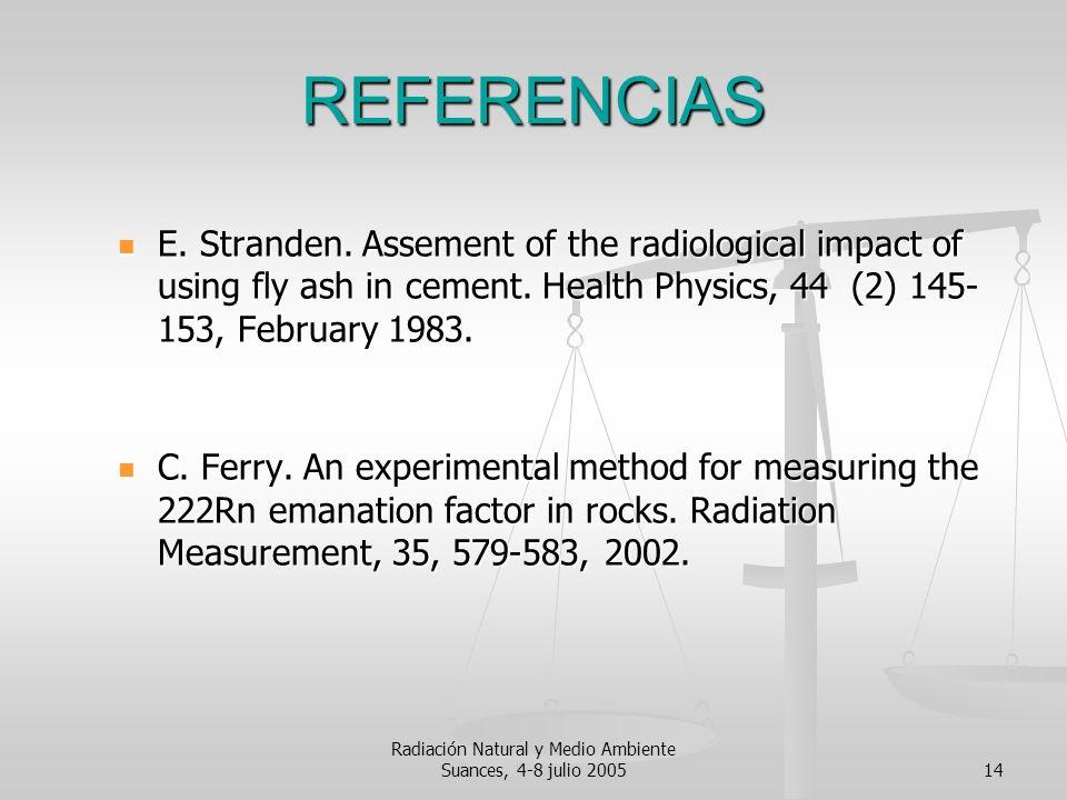 Radiación Natural y Medio Ambiente Suances, 4-8 julio 200514 REFERENCIAS E. Stranden. Assement of the radiological impact of using fly ash in cement.