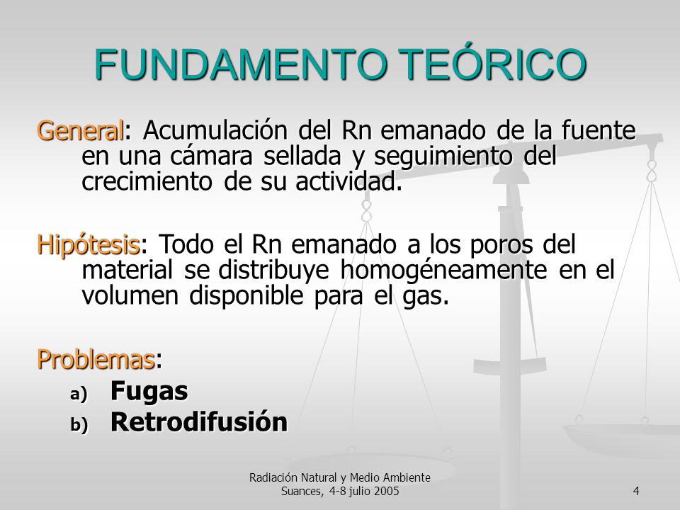Radiación Natural y Medio Ambiente Suances, 4-8 julio 20054 FUNDAMENTO TEÓRICO General: Acumulación del Rn emanado de la fuente en una cámara sellada