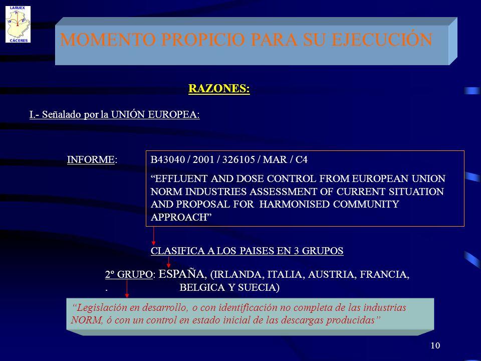 10 MOMENTO PROPICIO PARA SU EJECUCIÓN RAZONES: I.- Señalado por la UNIÓN EUROPEA: INFORME: B43040 / 2001 / 326105 / MAR / C4 EFFLUENT AND DOSE CONTROL