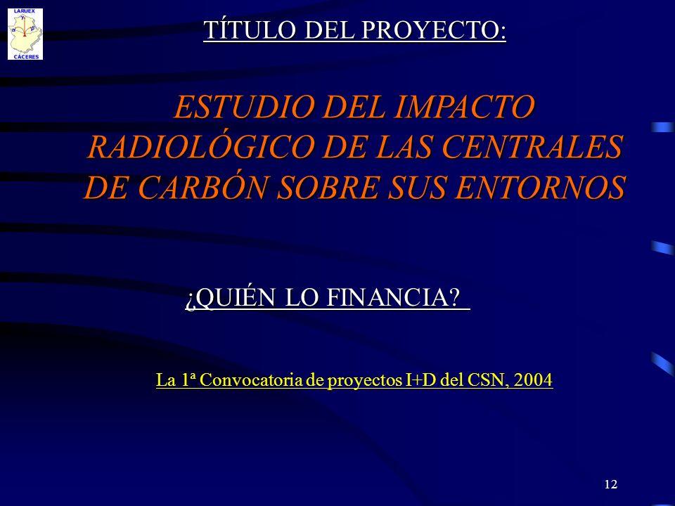 12 TÍTULO DEL PROYECTO: ESTUDIO DEL IMPACTO RADIOLÓGICO DE LAS CENTRALES DE CARBÓN SOBRE SUS ENTORNOS La 1ª Convocatoria de proyectos I+D del CSN, 200