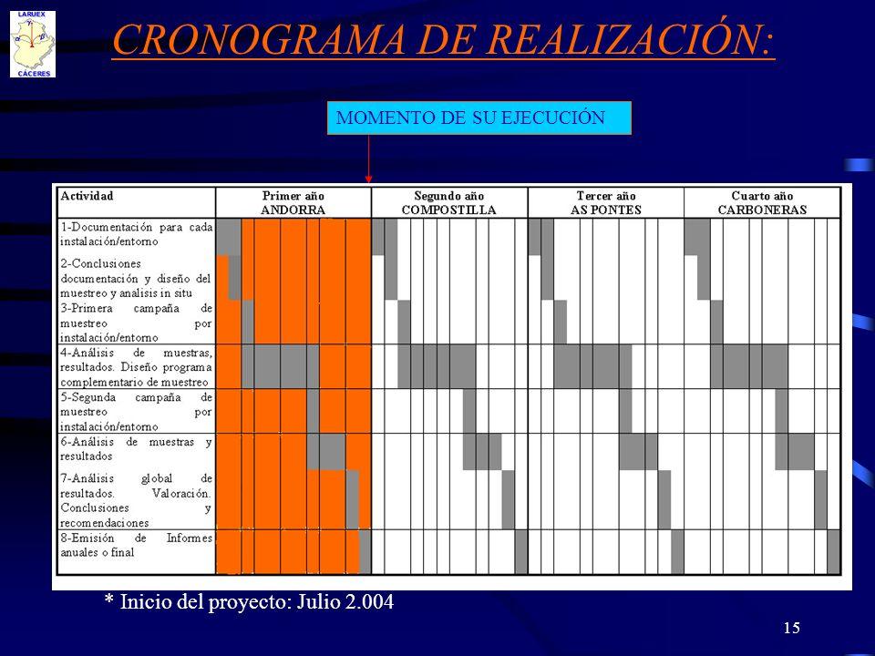 15 CRONOGRAMA DE REALIZACIÓN: * Inicio del proyecto: Julio 2.004 MOMENTO DE SU EJECUCIÓN