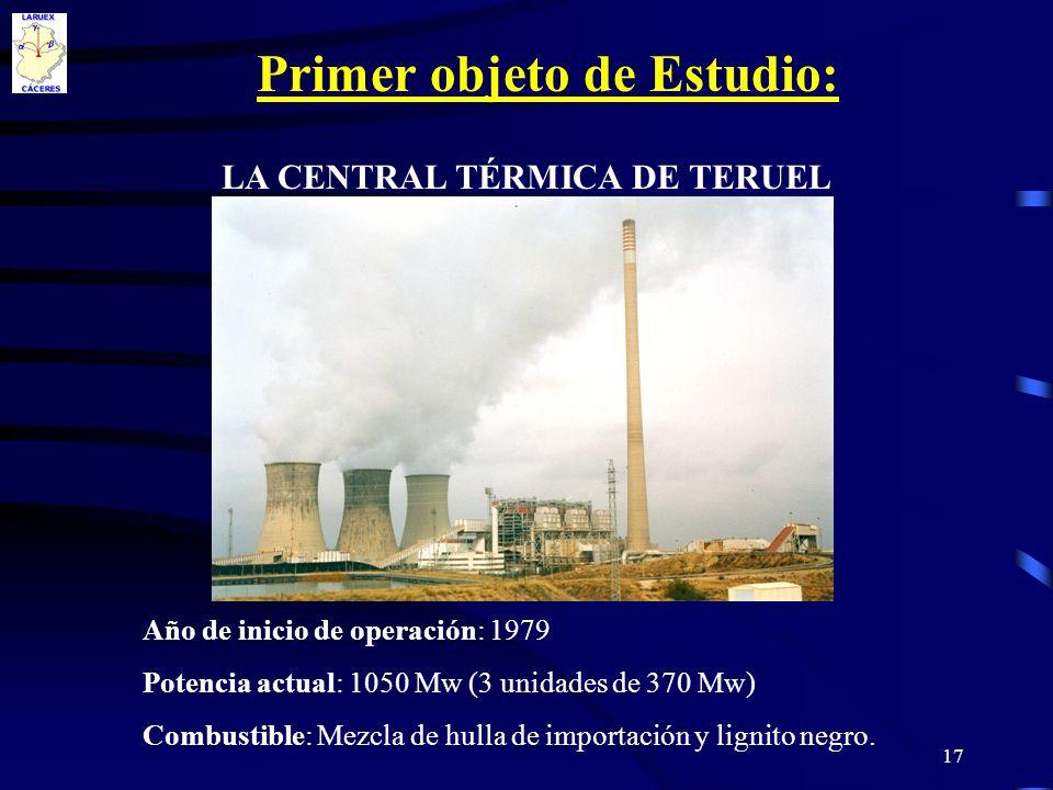 17 LA CENTRAL TÉRMICA DE TERUEL Año de inicio de operación: 1979 Potencia actual: 1050 Mw (3 unidades de 370 Mw) Combustible: Mezcla de hulla de impor
