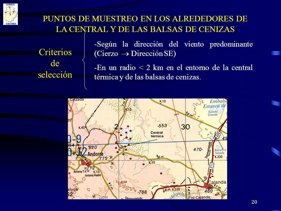 20 PUNTOS DE MUESTREO EN LOS ALREDEDORES DE LA CENTRAL Y DE LAS BALSAS DE CENIZAS Criterios de selección -Según la dirección del viento predominante (