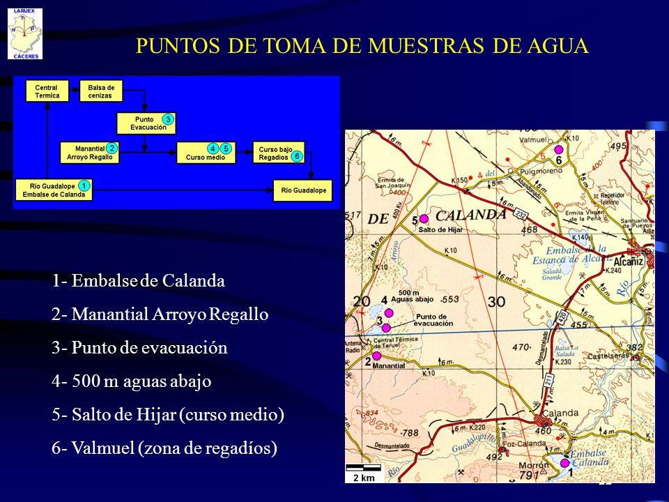 22 PUNTOS DE TOMA DE MUESTRAS DE AGUA 1- Embalse de Calanda 2- Manantial Arroyo Regallo 3- Punto de evacuación 4- 500 m aguas abajo 5- Salto de Hijar