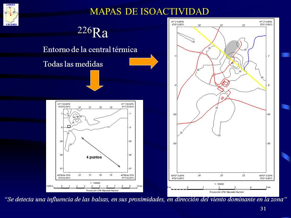 31 MAPAS DE ISOACTIVIDAD 226 Ra Entorno de la central térmica Todas las medidas Se detecta una influencia de las balsas, en sus proximidades, en direc