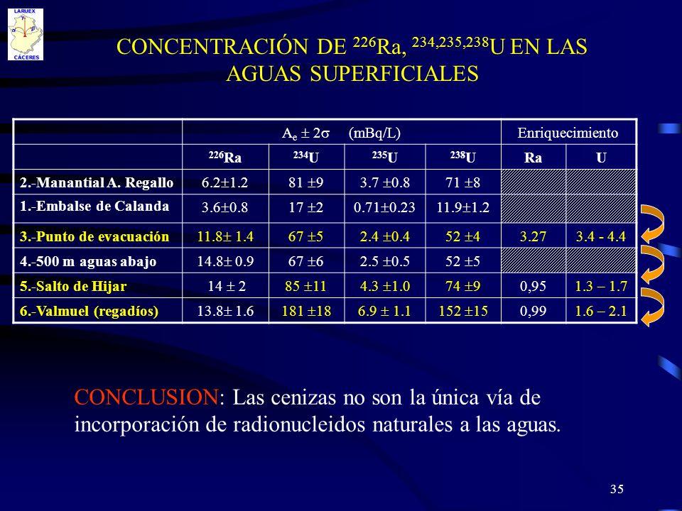 35 CONCENTRACIÓN DE 226 Ra, 234,235,238 U EN LAS AGUAS SUPERFICIALES A e 2 (mBq/L) Enriquecimiento 226 Ra 234 U 235 U 238 URaU 2.-Manantial A. Regallo