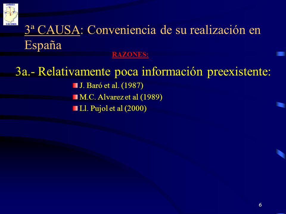 6 3ª CAUSA: Conveniencia de su realización en España 3a.- Relativamente poca información preexistente: J. Baró et al. (1987) M.C. Alvarez et al (1989)