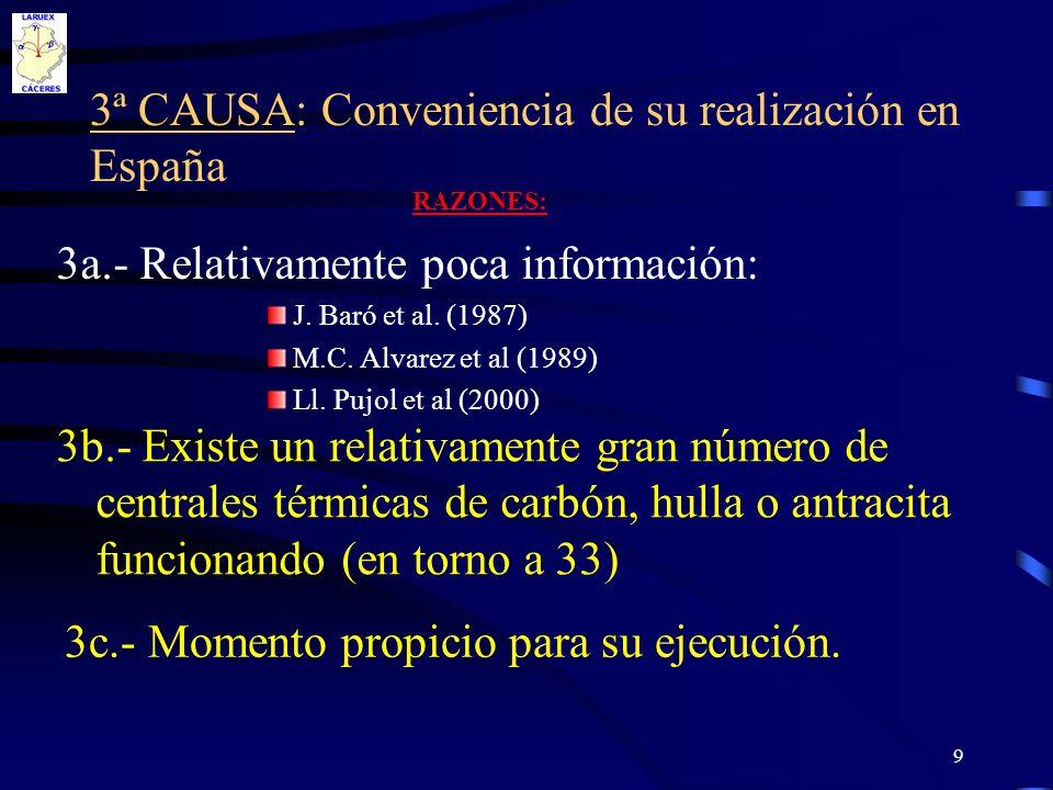 9 3ª CAUSA: Conveniencia de su realización en España 3a.- Relativamente poca información: J. Baró et al. (1987) M.C. Alvarez et al (1989) Ll. Pujol et