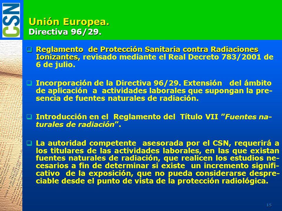 U nión Europea. Directiva 96/29. Reglamento de Protección Sanitaria contra Radiaciones Ionizantes Reglamento de Protección Sanitaria contra Radiacione