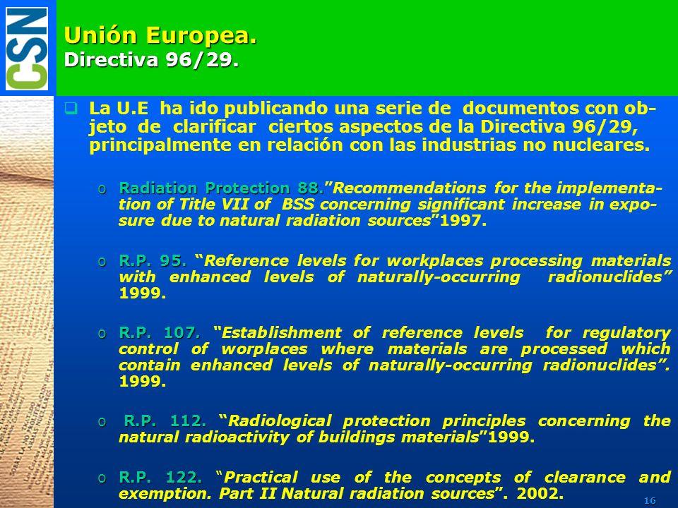 Unión Europea. Directiva 96/29. La U.E ha ido publicando una serie de documentos con ob- jeto de clarificar ciertos aspectos de la Directiva 96/29, pr