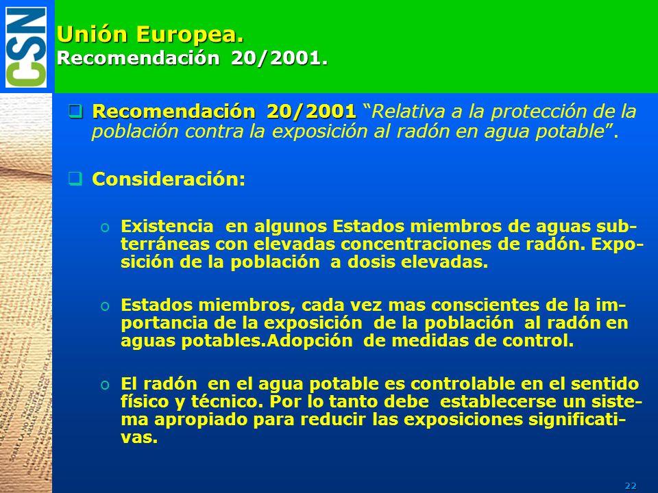 Unión Europea. Recomendación 20/2001. Recomendación 20/2001 Recomendación 20/2001 Relativa a la protección de la población contra la exposición al rad