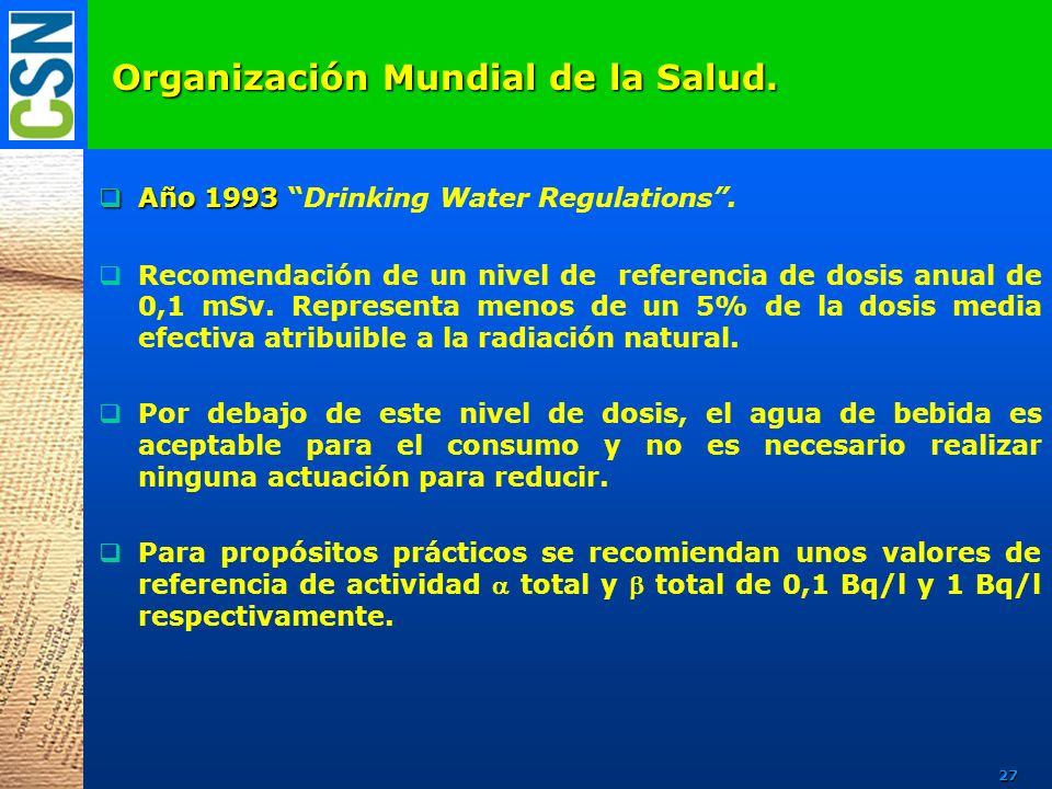 Organización Mundial de la Salud. Año 1993 Año 1993 Drinking Water Regulations. Recomendación de un nivel de referencia de dosis anual de 0,1 mSv. Rep