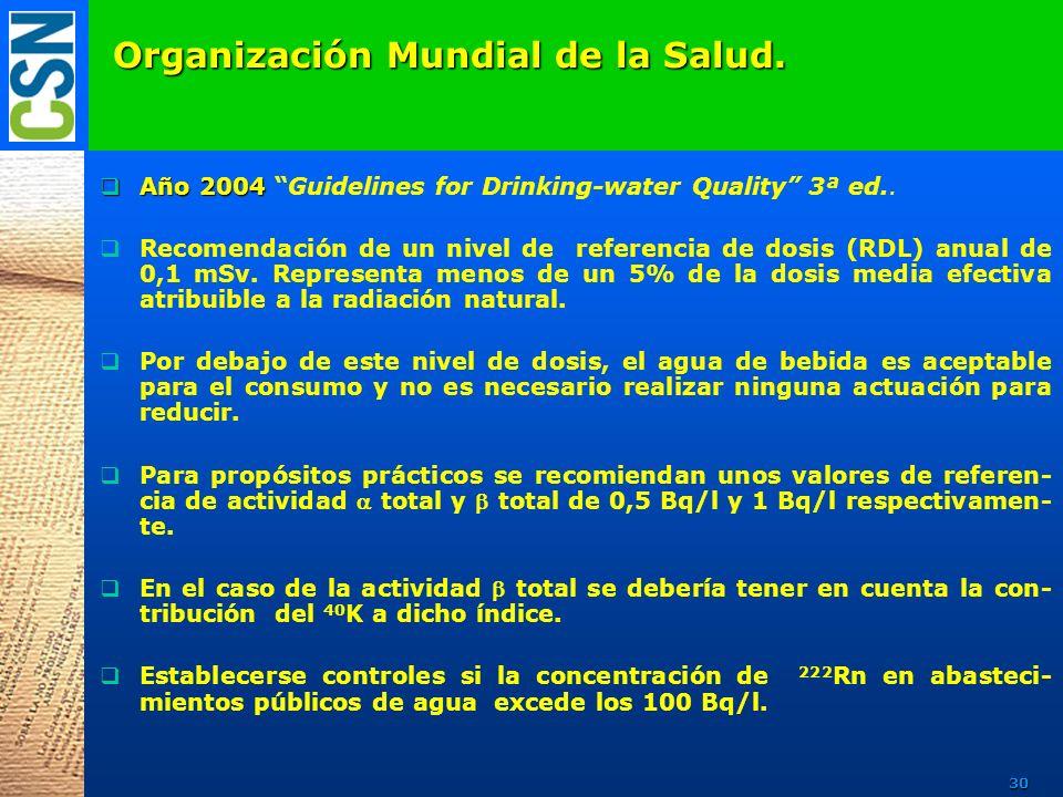 Organización Mundial de la Salud. Año 2004 Año 2004 Guidelines for Drinking-water Quality 3ª ed.. Recomendación de un nivel de referencia de dosis (RD