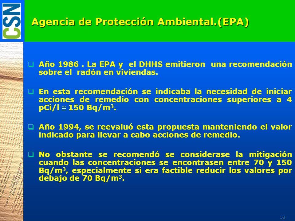 Agencia de Protección Ambiental.(EPA) Año 1986. La EPA y el DHHS emitieron una recomendación sobre el radón en viviendas. En esta recomendación se ind